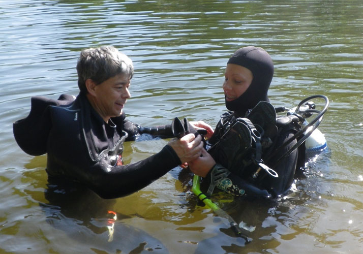 Frank Morrow helping. Diving at the Loyalsock Creek, Lycoming County, PA with A Water Odyssey Scuba